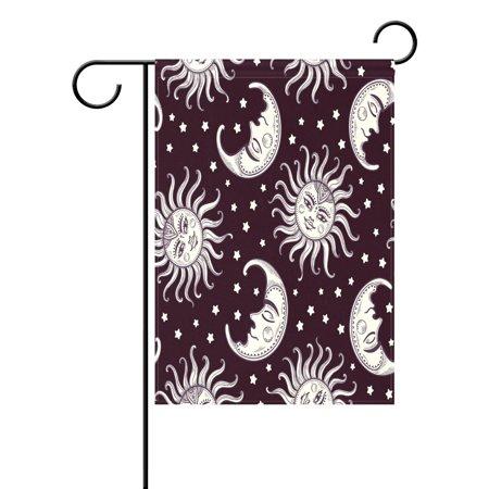 POPCreation Moon Sun Star Vintage Garden Flag Emoji Outdoor Flag Home Party 28x40 inches - Checkered Flag Emoji