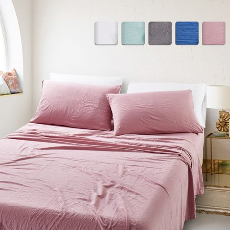 California Design Den Ultra Soft Stonewashed Sheet Set Microfiber Pink, Cal King 4 Piece