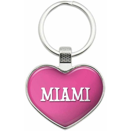 Miami - Places Metal Heart Keychain Key Chain Ring, Multiple Colors Available