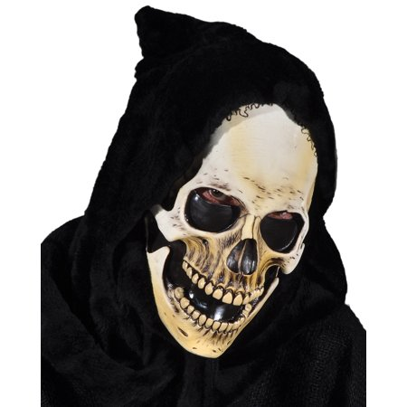Zagone Hooded Grim Reaper Skull Full Head Mask, White Black, One Size