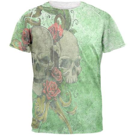 St. Patricks Day Deadly Wild Irish Rose Skull Tattoo Mens T Shirt - Skull And Roses Tattoo Sleeve
