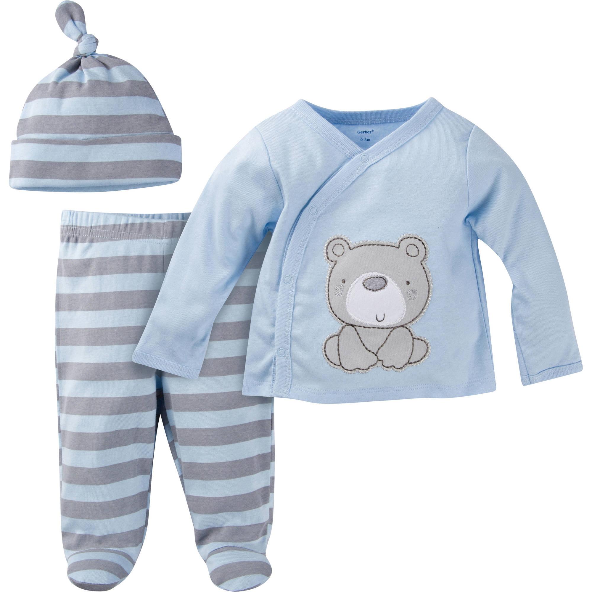 Gerber Newborn Baby Boy Take Me Home 3 Piece Layette Gift Set