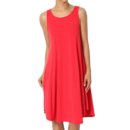 TheMogan Women's S~XL Sleeveless Trapeze Jersey Knit Pocket T-Shirt Dress