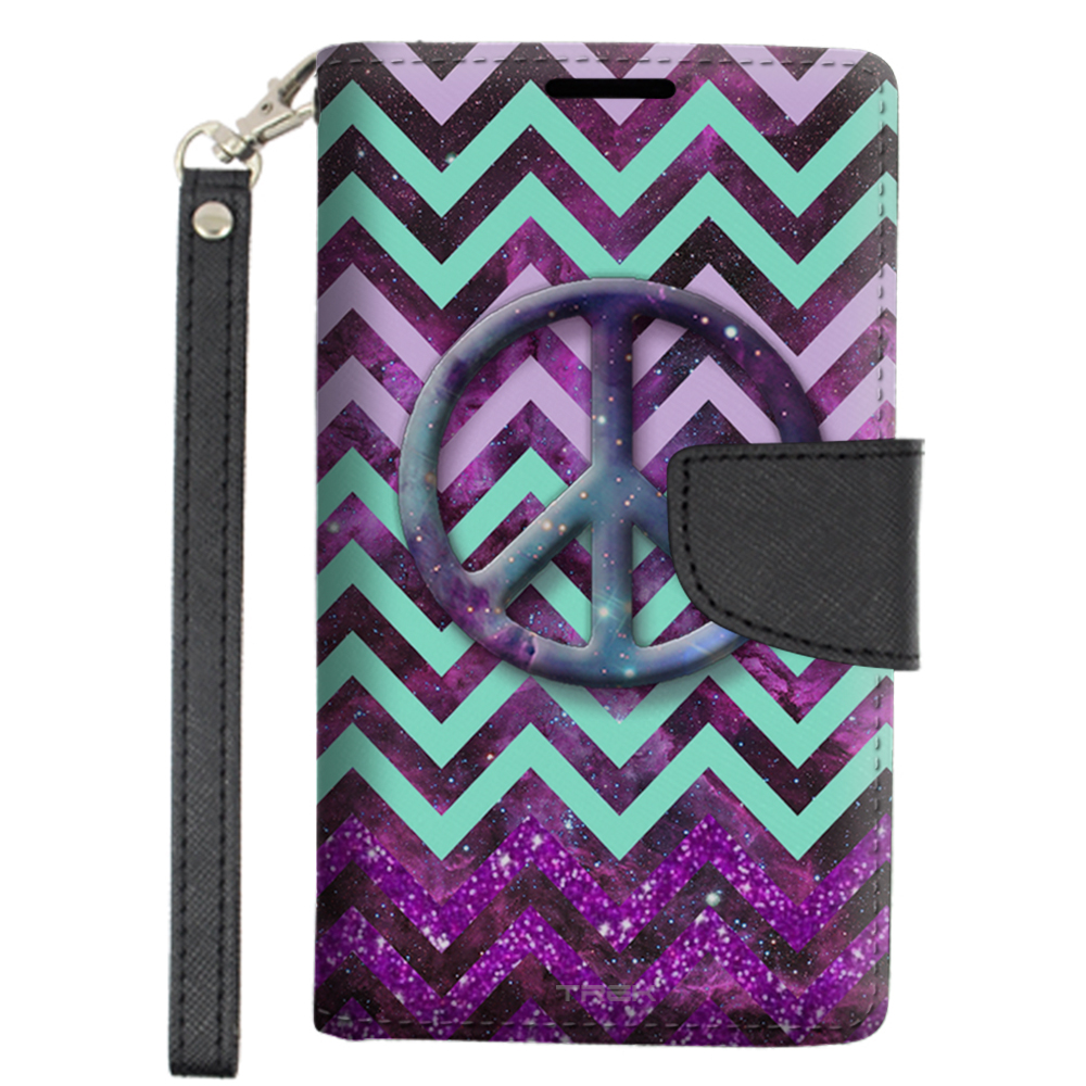 Alcatel OneTouch Conquest Wallet Case - Peace on Chevron Green Purple on Nebula