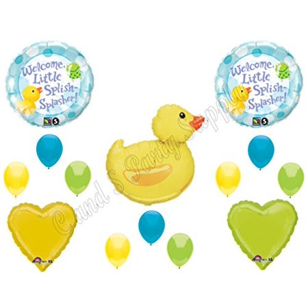 WELCOME LITTLE SPLISH SPLASHER RUBBER DUCK BABY SHOWER Balloons Decoration - Rubber Duck Baby Shower Supplies
