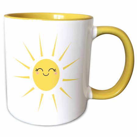 3dRose Smiling happy sun - cute kawaii yellow sunny smiley face - summery sunshine on white - sweet summer - Two Tone Yellow Mug, 11-ounce