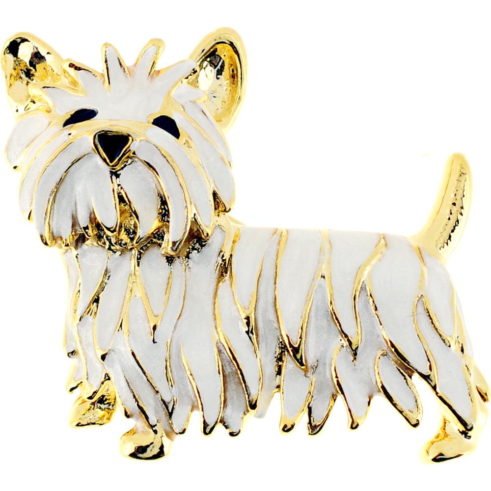 White Enamel Scottie West Terrier Dog Pin Brooch by