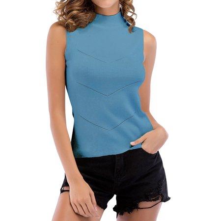 ZXZY Women Sleeveless Mock Neck Knit Solid Color Tank Tops