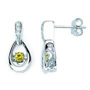 Boston Bay Diamonds  Brilliance in Motion 14k White Gold 1/4ct TDW Yellow and White Diamond Earrings