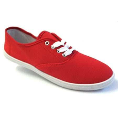 Shoes 18 Womens Canvas Shoes Lace up Sneakers 18 Colors Available (7.5 B(M) US, Red (Canvas Suede Sneakers)