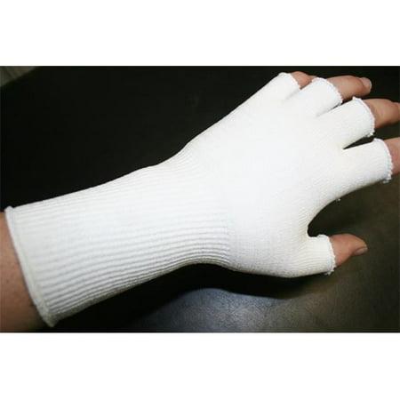 Indogem 736281U Half Finger Compression Gloves  44  White   Universal
