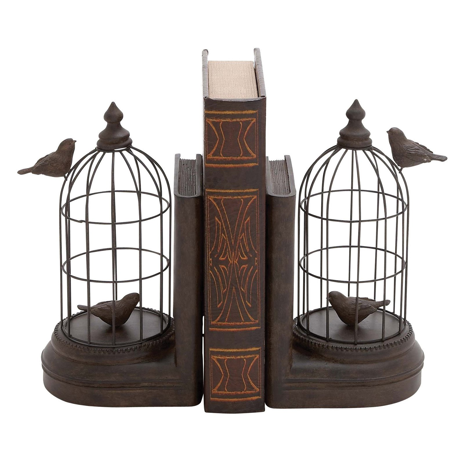A Pair Of Metal And Poly Stone Bird Cage Bookend by Benzara
