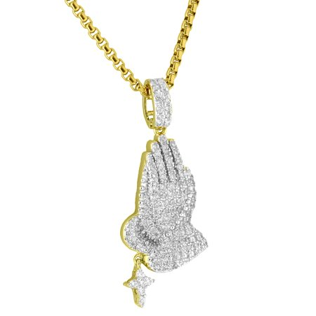 Praying Hands Rosary Cross Pendant Iced Out Lab Diamonds 14k Gold Plate Steel Chain
