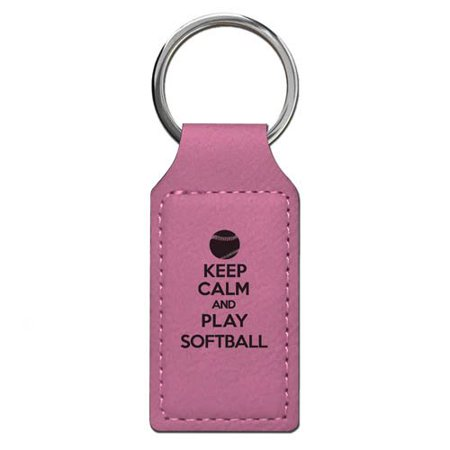 Keychain - Keep Calm and Play Softball - Personalized Engraving Included (Pink Rectangle)