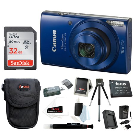 Canon PowerShot ELPH 190 IS Digital Camera (Blue) with 32GB Accessory Bundle (Blue And White Canton)