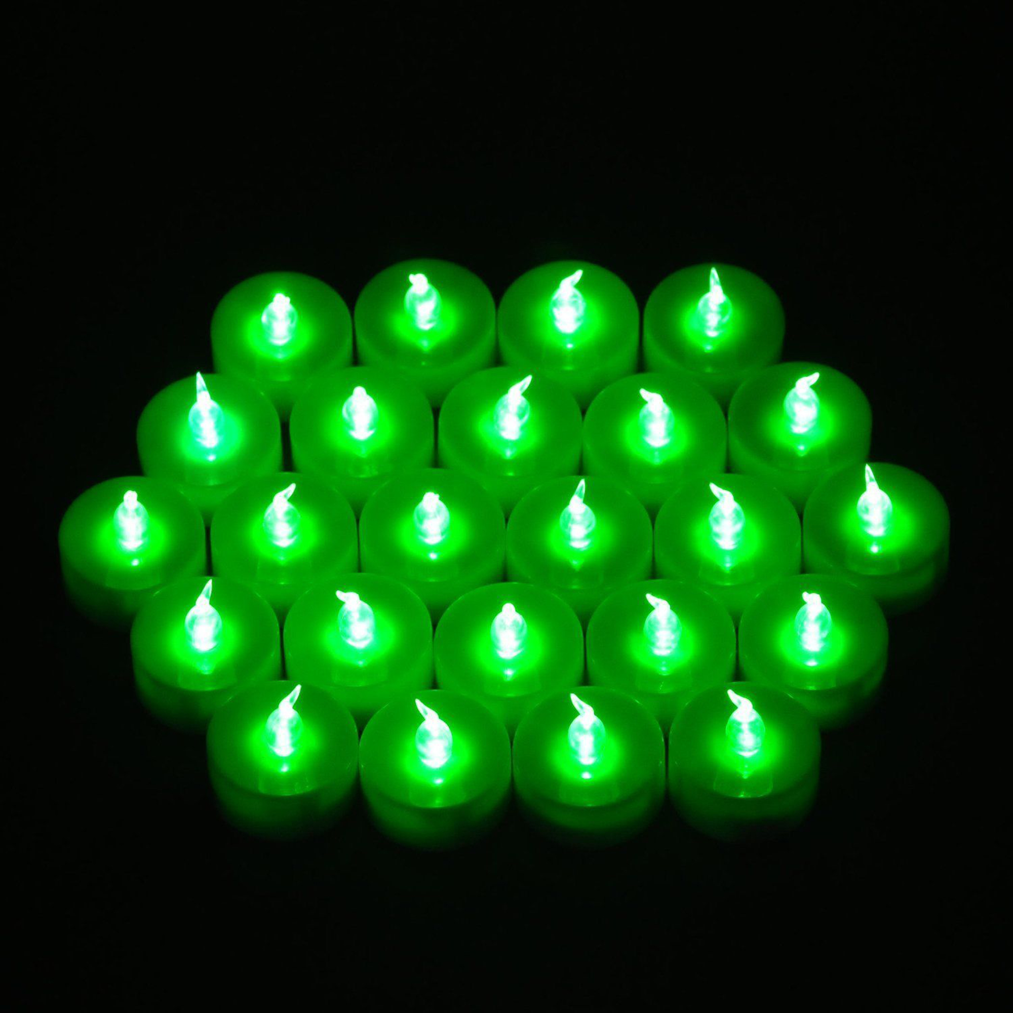 WEANAS 24pcs LED Green Tea Light Tealight Candles with Timer Timing Unscented Flickering Flameless for Christmas Birthday Wedding Party (Green)