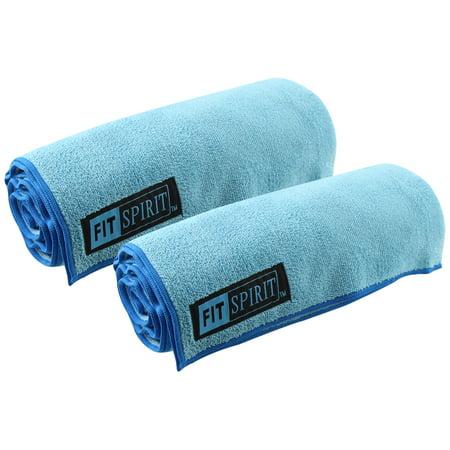 Fit Spirit Set of 2 Super Absorbent Microfiber Non Slip Skidless Sport Towels (28x56) - Blue Towels