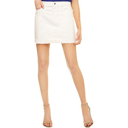 Sanctuary Womens Peyton Denim Frayed Hem Mini Skirt White 24