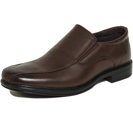 alpine swiss s197 men's dress shoes leather lined slip on loafers, brown,