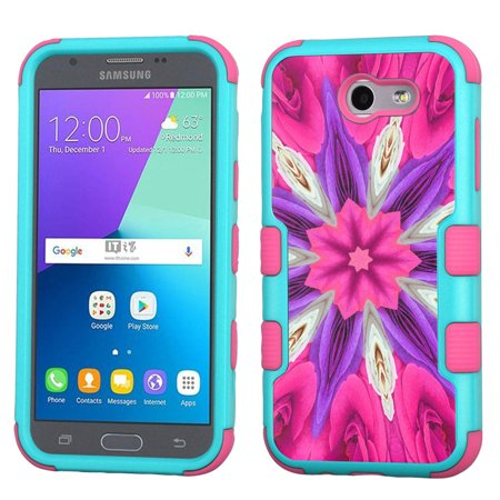 ShockProof Case for Samsung Galaxy J3 Luna Pro 4G LTE / J3 Eclipse / J3 Emerge / J3 Prime, OneToughShield ® 3-Layer Hybrid Protector Phone Case (Teal/Pink) - Kaleidoscope