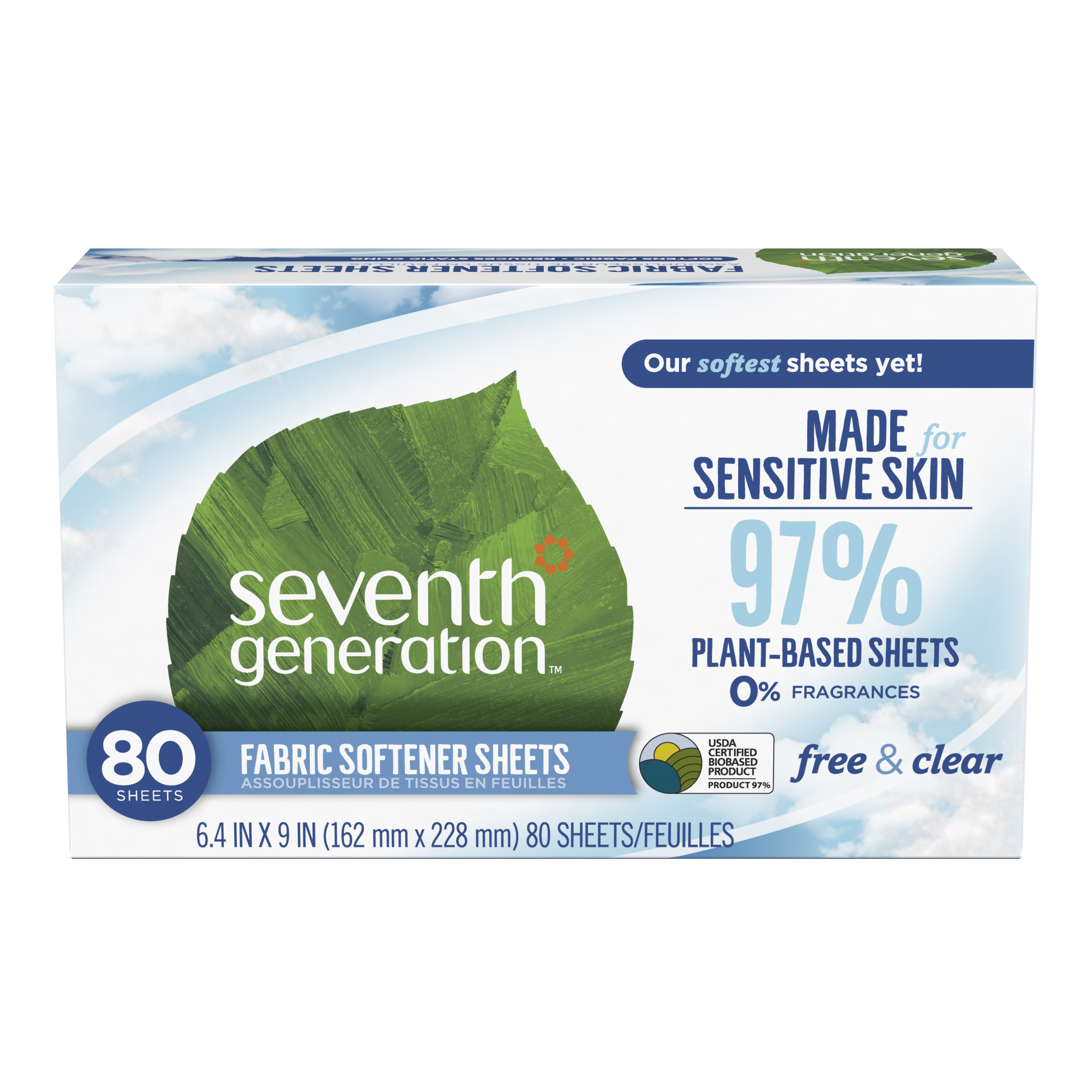 (2 pack) Seventh Generation Free & Clear Fragrance Free Fabric Softener Sheets, 80 sheets