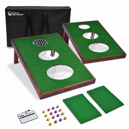 GoSports BattleChip VERSUS Golf Game | Includes Two 3' x 2' Targets, 16 Foam Balls, 2 Hitting Mats, Scorecard and Carrying Case - Halloween Mini Golf Games