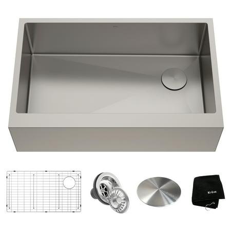 KRAUS 33 x 21 inch Standart PRO™ Farmhouse Modern Flat Apron Front 16 Gauge Single Bowl Stainless Steel Kitchen Sink (Kohler 30 Inch Farm Sink)