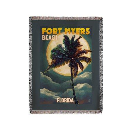 Fort Myers Beach, Florida - Palms & Moon - Lantern Press Poster (60x80 Woven Chenille Yarn