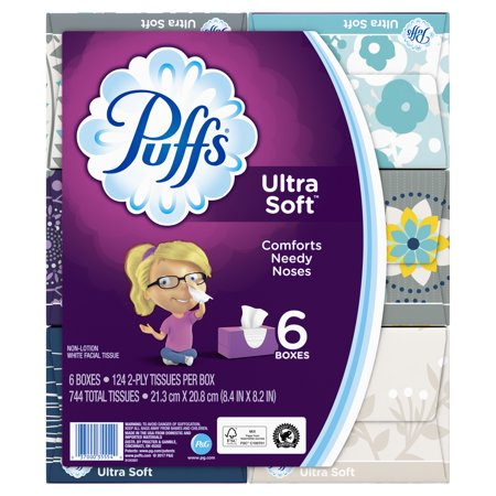 - Puffs Ultra Soft Facial Tissues, 6 Family Boxes, 124 Tissues per Cube