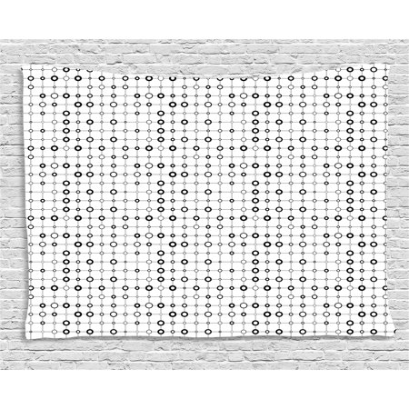 Geometric Tapestry, Monochrome Grid with Stripes and Circles Minimalistic Futuristic Modern Design, Wall Hanging for Bedroom Living Room Dorm Decor, 60W X 40L Inches, Black White, by Ambesonne