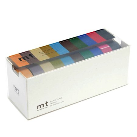mt Sets Washi Paper Masking Tape [genuine MT Kamoi Kakoshi / produced in Japan]: 3/5 in. x 33 ft. / Assorted (10 Dark Colors) [10 Rolls/Pack]