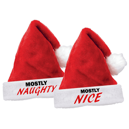 Santa's Hat Glitter Red Mostly Naughty Mostly Nice Holiday Kids Youth Adult Fun Plush Hat](Naughty Or Nice Party)