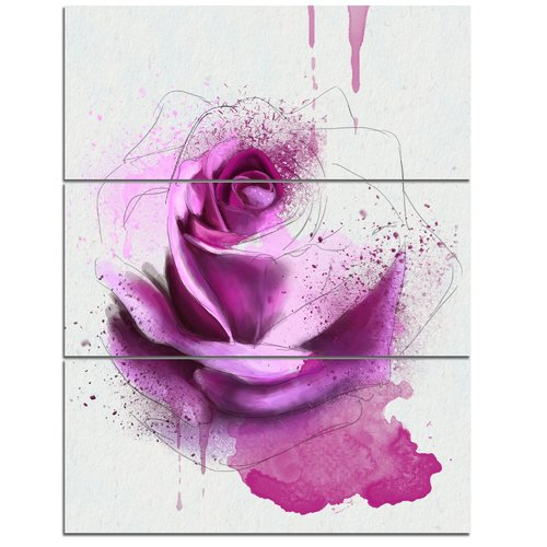Design Art 'Purple Rose Watercolor Sketch' 3 Piece Wall Art on Wrapped Canvas Set
