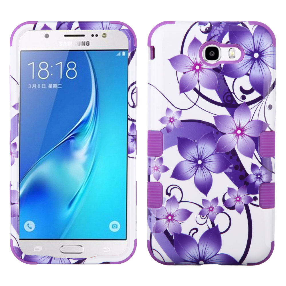 Samsung Galaxy J7 Sky Pro 4G LTE Case - TUFF Series [Military Grade Drop Tested - MIL-STD 810G-516.6] Heavy Duty Shock Resistant Protective Case (Purple Flower) and Atom Cloth