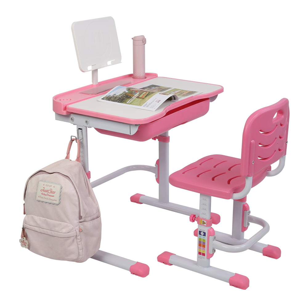 w//Protect Eye Desktop Children Study Desk Chair School and Home Kids Study Table Storage Drawer,with LED Light Bookstand New Kids Desk and Chair Set