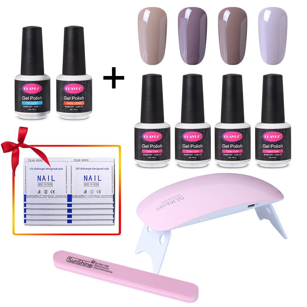 CLAVUZ Soak Off Gel Nail Polish Set Top and Base Coat Nail Polish SUNMINI LED Nail Lamp Nail File Remover Wrap New Starter Nail Art Tool Kit