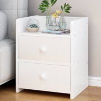 Greensen  MDF Wood Nightstand with 2 Drawers Bedside Table for Storage Modern Home Bedroom Furniture Black/White