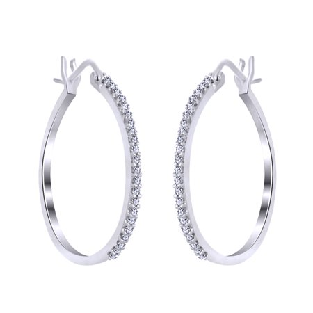Round Cut White Natural Diamond Hoop Earrings In 14K White Gold Over Sterling Silver (0.2 Cttw) - Gold Natural Diamond Earrings