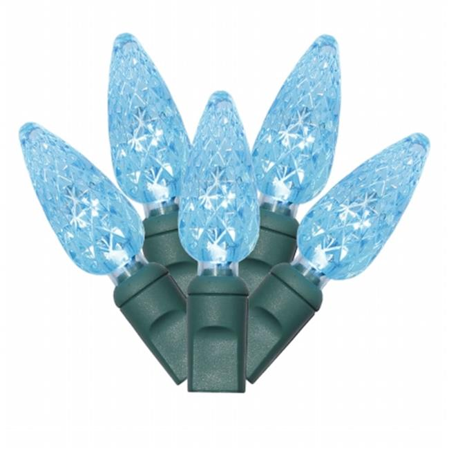 Northlight Seasonal 31752994 Teal Blue Commercial Grade Faceted LED C6 Christmas Lights - Green Wire