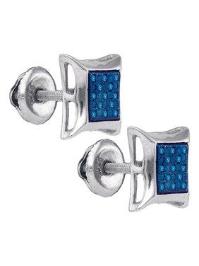 Sterling Silver Mens Round Blue Color Enhanced Diamond Square Kite Earrings 1/12 Cttw