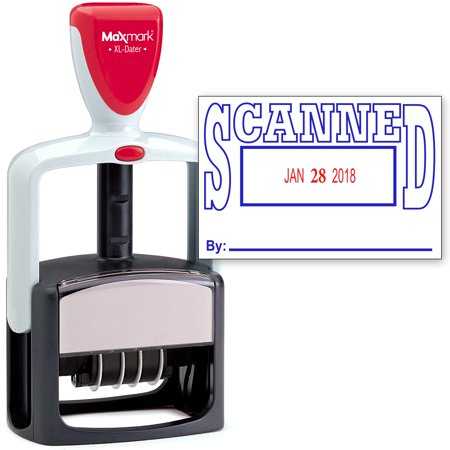 - 2000 PLUS Heavy Duty Style 2-Color Date Stamp with SCANNED self inking stamp - Blue/Red Ink