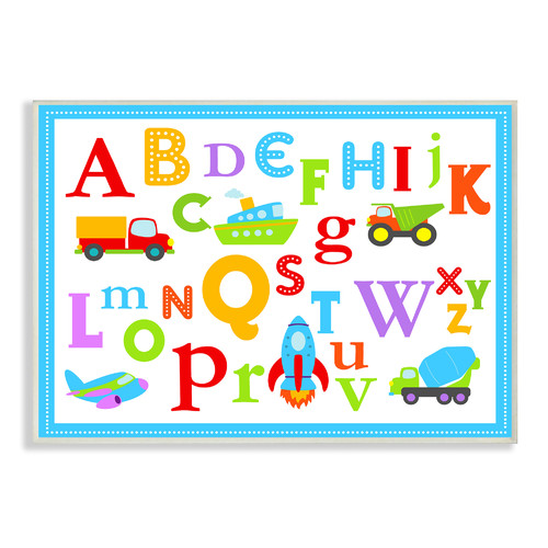 Stupell Industries Rainbow Alphabet Transportation Icons Wall Plaque
