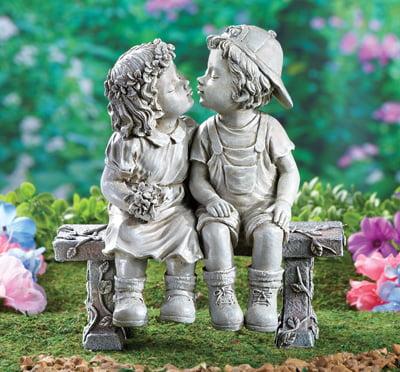 bigbolo K&N41 Garden Statue Puppy Love Girl Boy Outdoor Yard Indoor Home Figurine Sculpture Decor