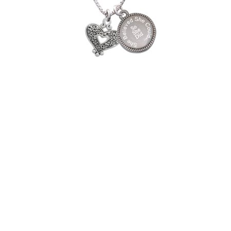 Antiqued Reptile Print Open Heart She Believed She Could So She Did Engraved Necklace