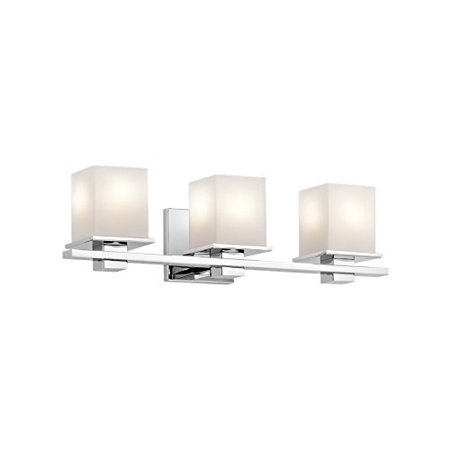 Kichler 45151ch tully 3 light vanity fixture and satin etched cased kichler 45151ch tully 3 light vanity fixture and satin etched cased opal glass chrome finish aloadofball Choice Image