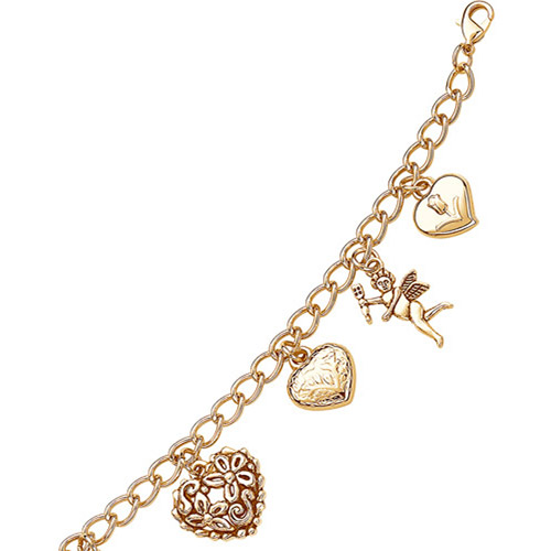 """Gold-Plated Whimsical Charm Bracelet, 7-1/2"""" with 1"""" Extender"""