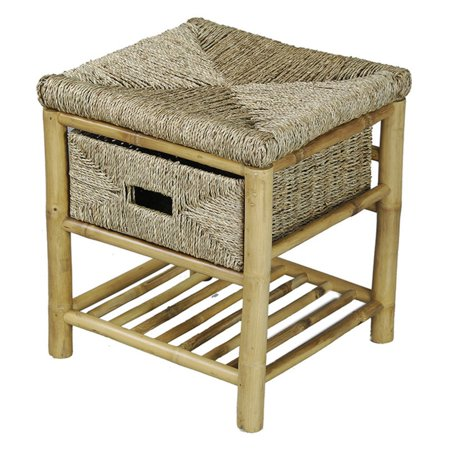 Heather Ann Creations Kaleo Bamboo and Seagrass Open Frame Storage Stool ()