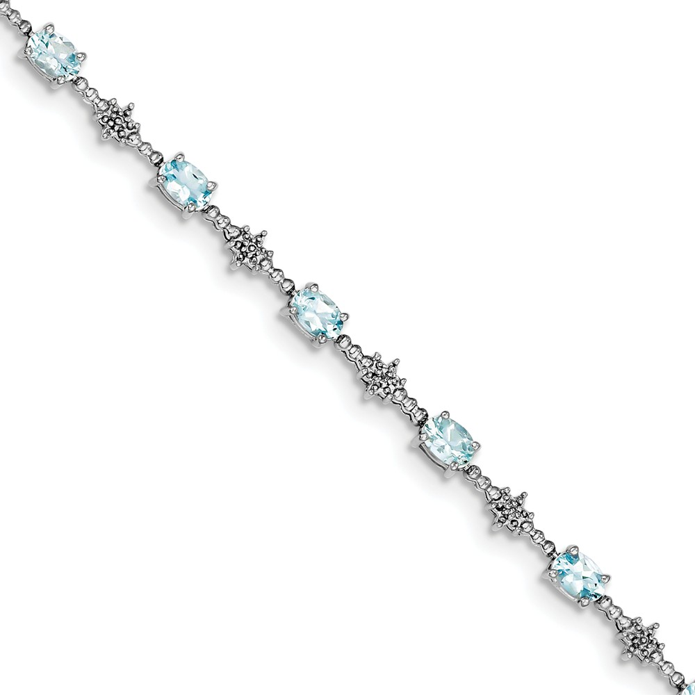 Sterling Silver Aquamarine and Diamond Bracelet. Gem Wt- 2.9ct by Jewelrypot