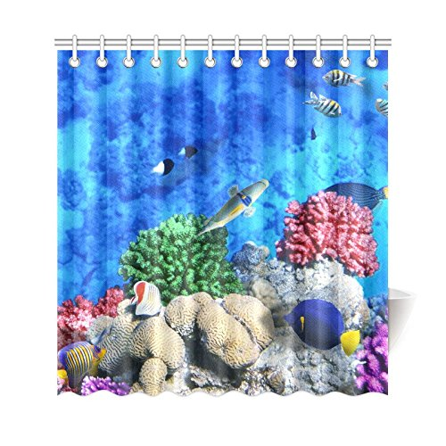 Gckg Underwater World Shower Curtain C Tropical Fish Polyester Fabric Bathroom Sets 66x72 Inches