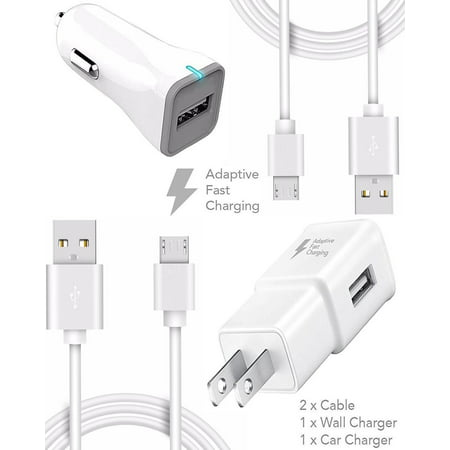 HTC Amaze 4G Charger (10 FEET) Micro USB 2.0 Cable Kit by TruWire - {Wall Charger + Car Charger + 2 Cable} True Digital Adaptive Fast Charging uses dual voltages for up to 50% faster charging!